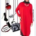 Alvina newviskon kırmızı tunik-kombini
