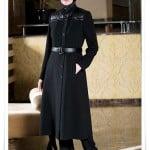 Estila deri detaylı siyah kışlık manto