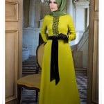 Muslima wear 2014 işlemeli limon rengi elbise