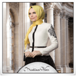 Muslima wear 2014 yeni sezon beyaz ceket-siyah şifon etek