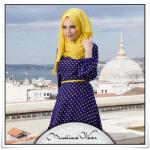 Muslima wear 2014 yeni sezon puantiyeli saks mavisi elbise