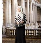 Muslima wear 2014 yeni sezon siyah zigzag desenli bluz