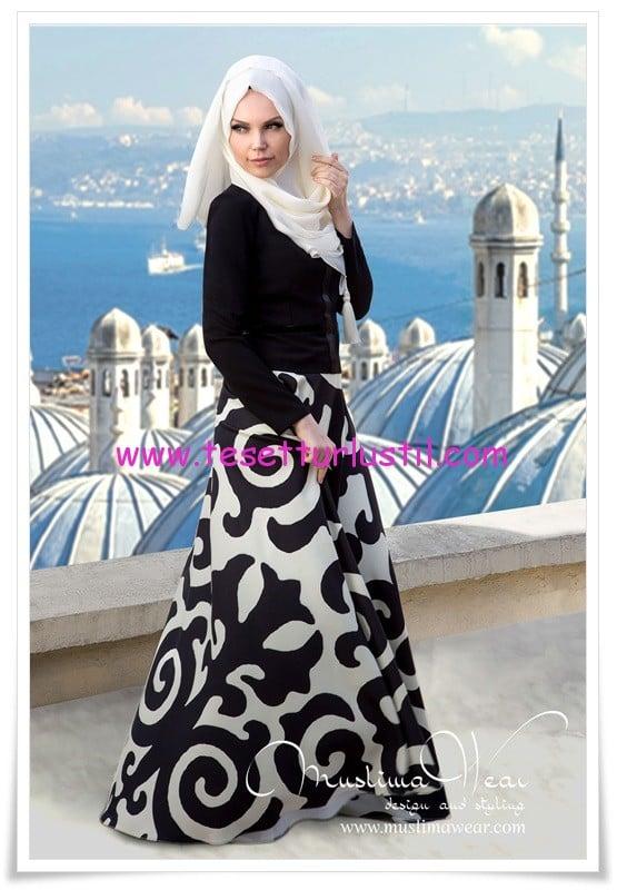 Muslima wear 2015 baskılı etek-siyah üst