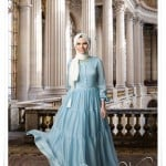 Muslima wear bebek mavisi şifon elbise
