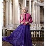 Muslima wear fuşya ceket-mor şifon etek