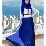 Muslima wear saks mavisi şifon etek