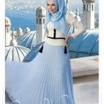 Muslima wear yeni sezon bebek mavisi şifon etek