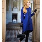 Muslima wear yeni sezon indigo mavisi desenli tunik