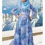 Muslima wear yeni sezon mavi çini desenli elbise