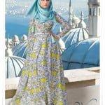 Muslima wear yeni sezon sarı lale desenli elbise
