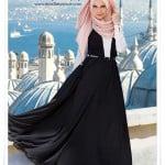 Muslima wear yeni sezon siyah beyaz tesettür elbise