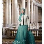 Muslima wera beyaz ceket-turkuaz şifon etek