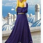 Muslima wera sarı noktalı saks mavisi tesettür elbise