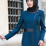 Nihle Giyim 2015 deri detaylı petrol mavisi pardesü