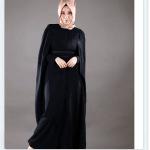 Feradje 2015 pelerin detaylı siyah ferace
