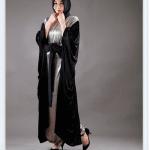 Feradje 2015 siyah-gümüş rengi kuşaklı ferace