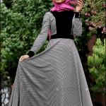 Minel Aşk 2015 kaz ayağı desenl nervürlü siyah elbise-230 TL