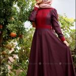 Minel Aşk kaz ayağı desenli bordo elbise-230 TL