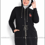 Moda Nisa beli bağcıklı kapşonlu siyah eşofman tunik-125 TL