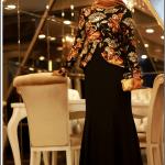 Pınar Şems çiçek desenli siyah balık abiye elbise-485 TL