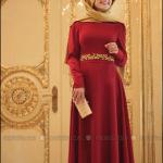 Pınar Şems 2015 bordo nakışlı abiye elbise-245 TL