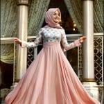 Pınar Şems 2015 somon tesettür elbise