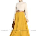 Pınar Şems 2015 yeni sezon hardal tesettür elbise-255 TL