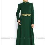 Pınar Şems 2015 yeni sezon yeşil düz nakışlı kapalı elbise-245 TL