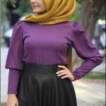 Pınar Şems mor düz gömlek-80 TL