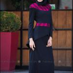 Tavin 2015 lacivert-fuşya peplum elbise-220 TL