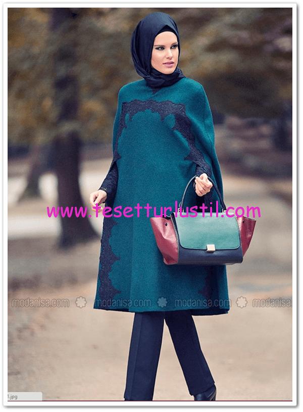 Dantelli yeşil keçe pelerin-Mustafa Dikmen-260 TL