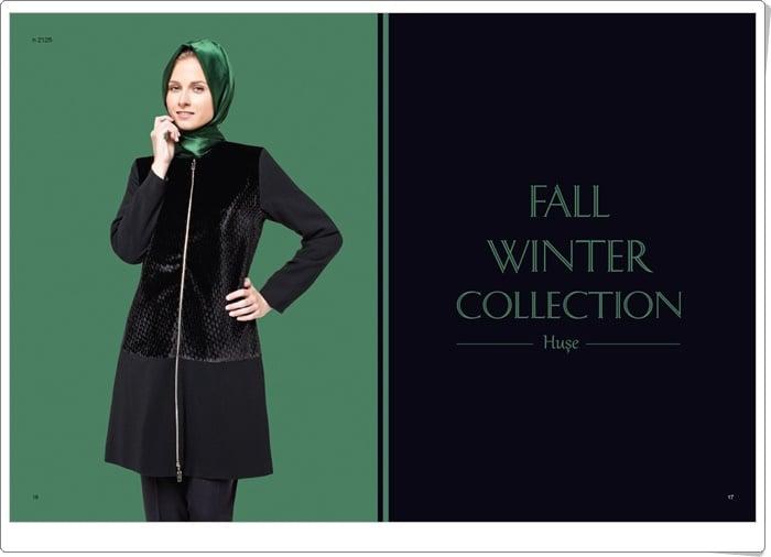 Huşe giyim 2015 fermuarlı siyah kap