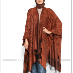 Moda Nisa-şal desenli kiremit panço-40 TL