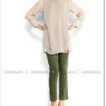 Paçası düğme süslemeli yeşil pantolon-Modesty-60 TL