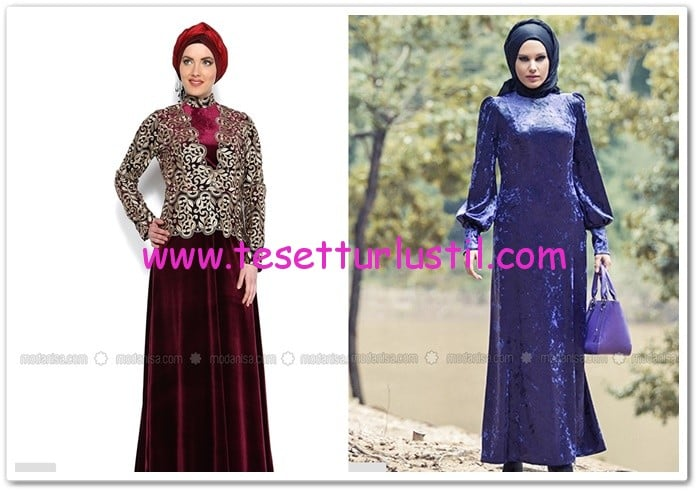 En güzel tesettür kadife abiye elbiseler