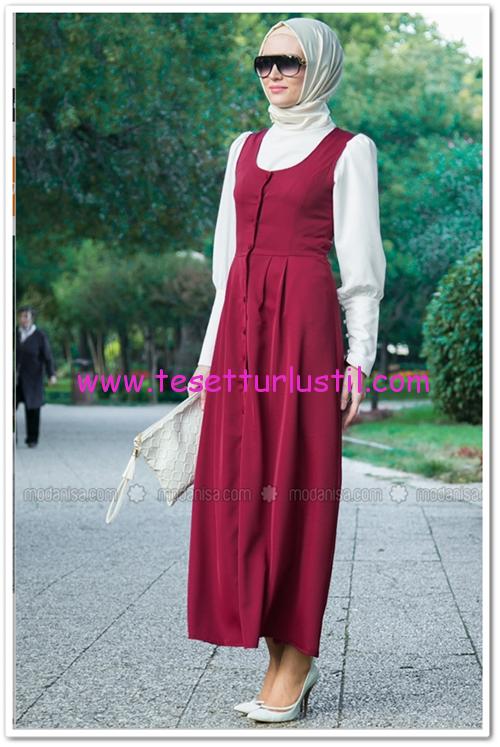 Refka-jile elbise yelek-bordo-moda nisa-74,90 TL