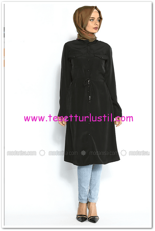 Tunikevim-beli bağcıklı siyah tunik-Moda Nisa-39,90 TL