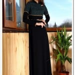 ArmaCool sahte bolerolu yeşil-siyah uzun elbise-100 TL