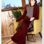 Tozlu giyim bordo hakim yaka uzun elbise-100 TL