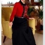 Tozlu giyim kırmızı deri garnili kapalı elbise-100 TL