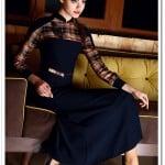 Tozlu giyim lacivert-vizon uzun elbise-100 TL