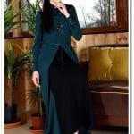 Tozlu giyim petrol mavisi yakası desenli uzun elbise-100 TL