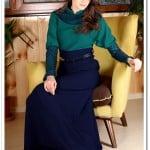 Tozlu giyim yeşil-lacivert kapalı uzun elbise-100 TL