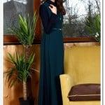 Tozlu giyim yeşil-lacivert yaka detaylı elbise-100 TL
