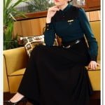 Tozlu giyim zümrüt yeşili tül robalı elbise-100 TL