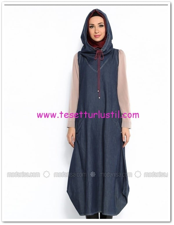 kapüşonlu denim jile elbise-Neways-170 TL