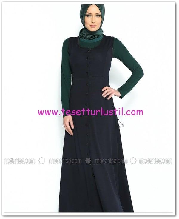 lacivert jile elbise-Sibella-60 TL