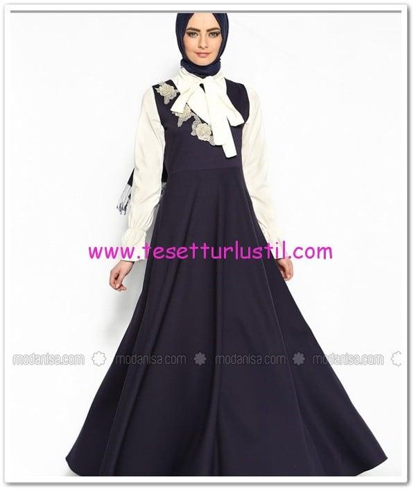 lacivert jile elbise-pile butik-160 TL