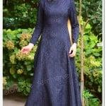 Dilber lacivert brokar desenli elbise-70 TL