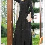siyah brokar desenli etsettür elbise-Armine-190 TL